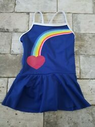 Toddler Girls Lands End Size 4T Navy Rainbow skirted Bathing Suit $13.60