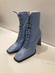 ZARA 2020 BLUE RUNWAY COLLECTION LACE UP HIGH HEEL BLUE LEATHER BOOTS 36EUR 6US