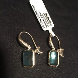 NWT Ippolita 925 Sterling Silver Mini Drop Rectangular Earrings Indigo Blue $295 $150.00