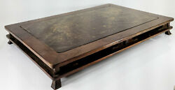 Antique Japanese or Chinese Carved Wooden Base or Stand Elm Burlwood $450.00