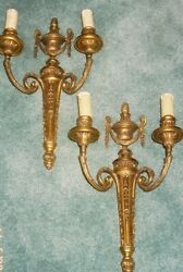 STUNNING PAIR OF SCONCES LOUIS LXVI STYLE BRONZE FRENCH ANTIQUE WITH SHADES $850.00