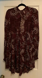 Free People Boho Long Sleeve Lace Purple Floral Mini Dress Medium $24.99