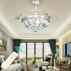 42quot; Chandelier Ceiling Fan Light Invisible Blade Crystal LED With Remote Control $128.94