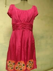 PHOEBE COUTURE embroidered RUCHED  silk Dress sz 10 $14.99