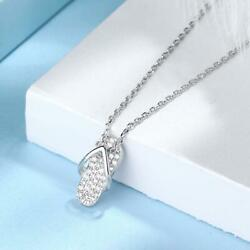 Flip Flops 925 Silver Plated Pave Cubic Zirconia Pendant Chain Necklace $8.99