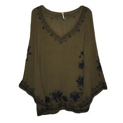 Free People Size XS Embroidered Bell Sleeve Boho Pullover Mini Dress Olive Green $25.00