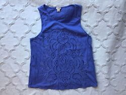 J Crew Women's Size Medium Periwinkle Blue Embroidered Sleeveless Tank Top SP14