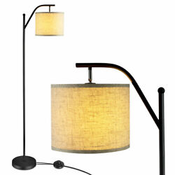 Standing Arc Light Modern Floor Lamp W Fabric Hanging Lamp Shade Bedroom Office $52.59