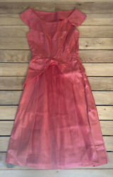 Handmade 60s women's prom Formal dress With side Zipper Size s In pink F4 $39.00