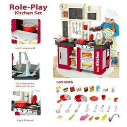 Large Kitchen Kids Play Set Pretend Baker Toy Cooking Playset Food Accessories $54.43