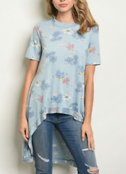 NWT Womens Short Sleeve High Low Tunic Blue Floral Print Jersey Top SML USA. $9.99