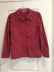 CAbi womens Large Casual Barn Red Safari style cotton Field Jacket #208 buttons $14.95