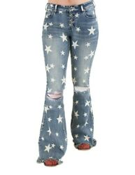 Cowgirl Tuff Western Jeans Womens Hollywood Flare Stars Light JHWOOD $119.94