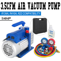 3.5CFM 14hp Air Vacuum Pump HVAC Refrigeration AC Manifold Gauge Set R134a Kit $88.00