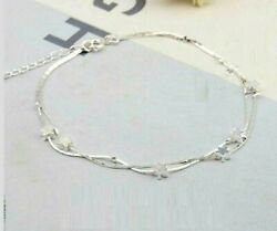 Womens Silver SP Bead Star Ankle Bracelet Double Chain Foot Anklet A04 $8.99