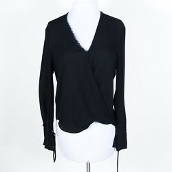 3.1 Phillip Lim SILK Sheer Wrap Front Adjustable Button Tie Cuff Sleeve Black 2 $37.00