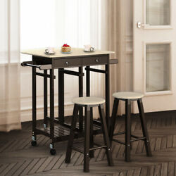 3PC Wood 2 in 1Kitchen Island Rolling Cart Set Dinning Table Drop Leaf & 2 Stool