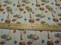 White Curious George With Multicolored Balloons Cotton Fabric BTY $17.00