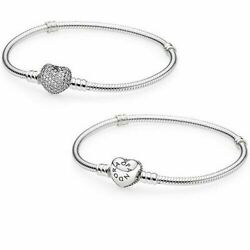 Beautiful Pandora PAVE Heart 100% Sterling Silver Snake Chain Bracelet WPouch $299.99