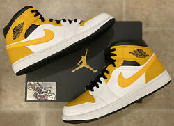 Nike Air Jordan 1 Retro Mid Gold Black White 2021 Basketball Shoes Mens Size $174.25