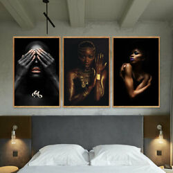 Black Gold African Woman Canvas Paintings On The Wall Art Posters Prints Picture $11.99