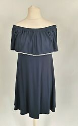 M&S Navy summer holiday beach off the shoulder short jersey dress size 8 nwt $23.57