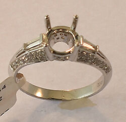 18K WHITE GOLD DIAMOND ENGAGEMENT RING MOUNTING SIZE 6 1 2 NEW WITH TAGS $2445.00