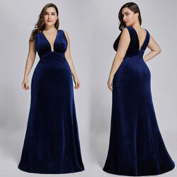 Ever Pretty Plus Size Long Evening Dress Velvet Celebrity Cocktail Dresses Gowns $16.19