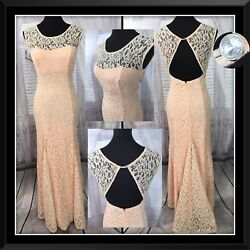 Sequin Hearts Mermaid Lace Formal Train Dress Evening Gown Pink Juniors Sz 7 $42.33