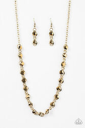 Paparazzi Jewelry Necklace & Earrings Shes A GLAM-eater - Brass