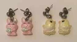 Claire#x27;s Easter Novelty Earrings Lot of 2 Pairs Pink Bunnies Yellow Chicks GUC $6.00