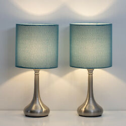 Set of 2 Bedside Table Lamps Modern Design Line Fabric Lampshade Metal Lamp Base $29.94