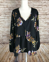 NEW Loralette Women#x27;s 3X Plus Boho Tunic Peasant Blouse Multicolor Roses NWOT $19.99