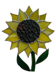 """SUNFLOWER Large Handcrafted Stained Glass Sun Cather 8""""X 6""""Inc $27.29"""