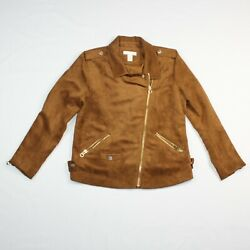 H&M Womens Sz 12 Moto Biker Military Style Jacket Faux Suede Brown Full Zip
