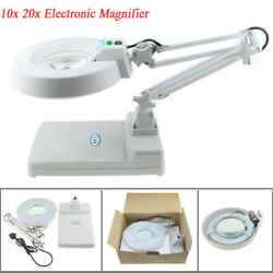 20X 10X Electronic LED desk Lamp Magnifier Adjustable Magnifying Inspection Tool $85.99