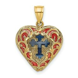 Reversible Red and Blue Enameled Cross In Heart Charm In Real 14k Yellow Gold $235.99