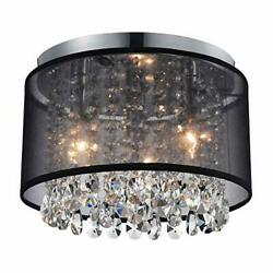 Black Mini Chandeliers Drum Gauze Crystal Ceiling Light Fixture 3 Light for B... $135.74