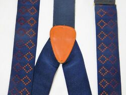 CAS German Suspenders Adjustable Button Leather Blue Geometric Braces $21.00