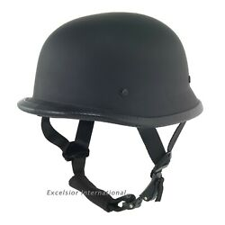 German Novelty Flat Black Motorcycle Half Helmet Cruiser Biker SMLXLXXL $33.50