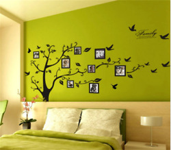 Hot sell Family Tree Wall Stickers Bird Photo Frame  Art Decals Home Dec large $5.50