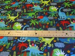 Navy Blue With Multicolored Dinosaurs Cotton Fabric BTY $12.99