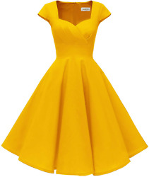 Hanpceirs Women's Cap Sleeve 1950s Retro Vintage Cocktail Swing Dresses with Poc $45.99