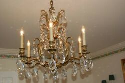 ANTIQUE Chandelier6 soft brass Arms with Crystals Made in Germany $725.00
