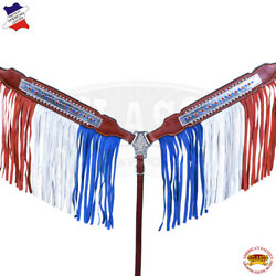 C-1-BC Western Horse Breast Collar Tack American Leather Red Blue Hilason $63.95