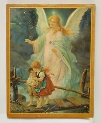 VTG 1940 Guardian Angel Children On Bridge Religious Wall Art Wooden Print $18.23