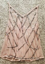 Buckle Daytrip 💗 Sheer Dusty Rose Pink w Sequin Beaded Womans Tank Top XB $12.99