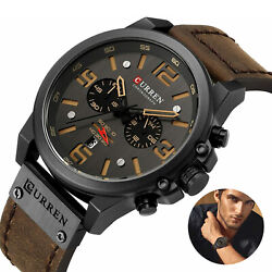 CURREN Military Men#x27;s Quartz Watches Top Sport Chronograph Leather Army Infantry $23.98