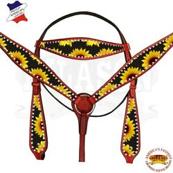 C--SET Hilason Western Horse Headstall Breast Collar American Leather Sunflower $109.99