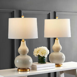 Pair of Contemporary Table Lamp Cream Perched on an Elegant Gold Leaf Base $180.66
